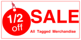 Half Off Sale Tag