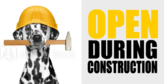 Open During Construction Yellow White