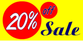 20 percent off blue yellow red