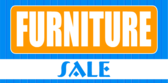 Furniture Sale Orange Blue Pin Stripes