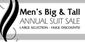 Mens Big Tall Annual Suit Sale B