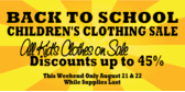 Children Back to School Clothing Sale