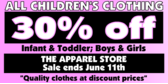 All Children's clothing 30% off
