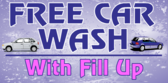 Free Car Wash with fill up white