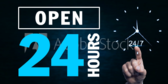 Open 24 Hours Green Blue