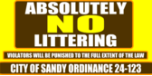 Absolutely NO Littering