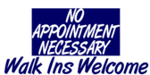 No appointments necessary