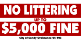 Local Ordinance No Littering With Fine