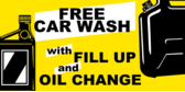 Car Wash Free with Oil Change Gas