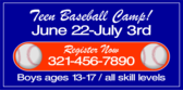 Teen Baseball Camp