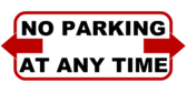 No Parking Any Time Span Arrows