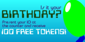 Arcade Birthday Free Tokens