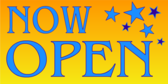 Now Open Blue and Orange