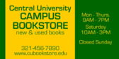 Campus Bookstore Hours