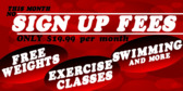 Gym Membership No Sign Up Fees With Cute Red Circl
