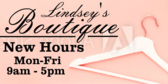 Boutique New Hours
