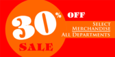 Percent Off Sale All Departments On Select Items