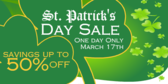 St Patrick's Day Sale Half Off