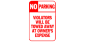No Parking Violators Will Be Towed Red