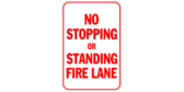 No Stopping or Standing Fire Lane