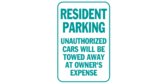 Resident Parking Unauthorized Warning