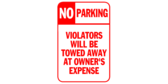 No Parking Violators Will Be Towed Red White