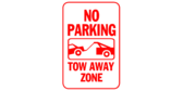 No Parking Tow Away Zone Red And White