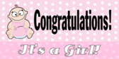 Its A Girl Congratulations