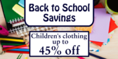 Back To School Children Sale