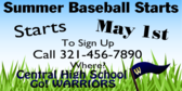 Summer BaseBall Season Open