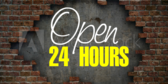 Open 24 Hours Blue Stripes