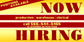 Now Hiring Various Positions