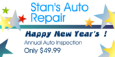 Happy New Year's  Annual Auto Inspection