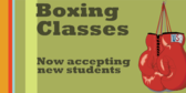 Boxing Class, Accepting New Students