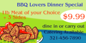 BBQ Lovers Dinner Special