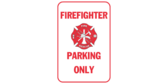 Firefighter parking only with symbol