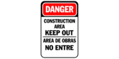 Construction area keep out (line) area de obras no