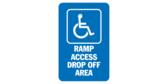 Handicap symbol ramp access drop off area