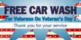Free Car Wash For Veterans On Veteran's Day