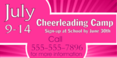 Cheerleading Camp Pink