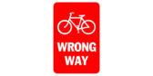 Red sign with bike symbol – wrong way