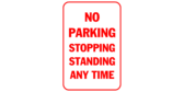 No parking stopping standing any time