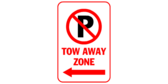 P Tow away zone with arrow left
