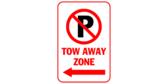 P Tow away zone with arrow left