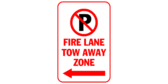 Fire lane tow away zone with arrows left