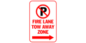 Fire lane tow away zone with arrows right
