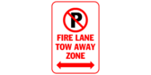 Fire lane tow away zone with arrows both