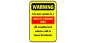 Warning you have parked in a private parking area;
