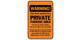 Warning! You Have Parked In A Private Area