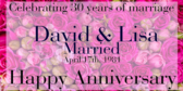 Celebrating 30 Years Of Marriage